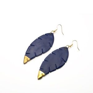 Navy Blue Feather Ceramic Earrings
